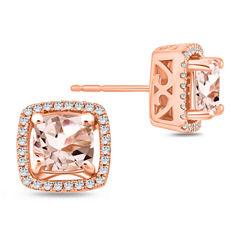 Cushion Pink Morganite 10K Gold Stud Earrings