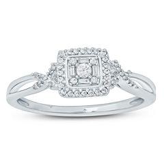 Womens 1/6 CT. T.W. Genuine Multi-Shape White Diamond Sterling Silver Promise Ring