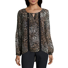Alyx Long Sleeve Split Crew Neck Woven Leopard Blouse