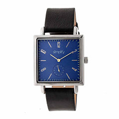 Simplify Blue Dial Mens Black Strap Watch-Sim5002