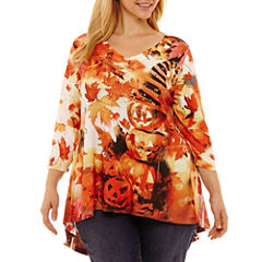 Unity World Wear 3/4 Sleeve Pleat Back Halloween Tee-Plus