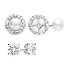 DiamonArt® Cubic Zirconia and Cultured Freshwater Pearl 2-pr. Stud Earring Set