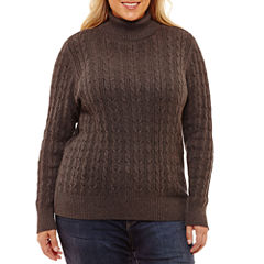 St. John's Bay Long Sleeve Cable Turtleneck Sweater-Plus