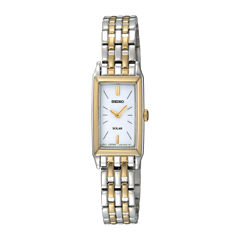 Seiko® Womens Two-Tone Stainless Steel Solar Bracelet Watch SUP028