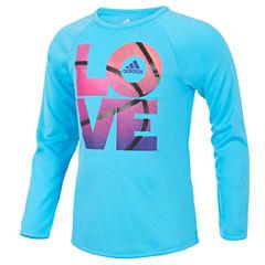 adidas Short Sleeve Crew Neck T-Shirt-Toddler Girls