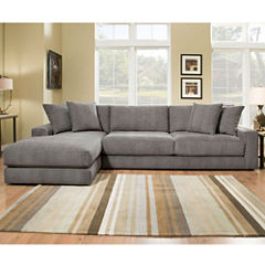 Fabric Possibilities Ponderosa Quick Ship 2-Piece Right Arm Facing Sectional in Curious