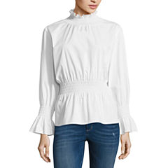 Belle + Sky Long Sleeve Smocked Shirt