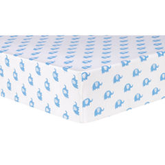 Trend Lab Blue Elephant Flannel Fitted Crib Sheet