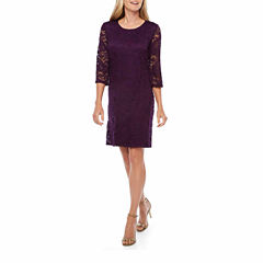 Liz Claiborne 3/4 Sleeve Pattern Shift Dress