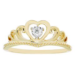 Enchanted By Disney Womens Genuine Round Diamond Accent 10K Gold Promise Ring