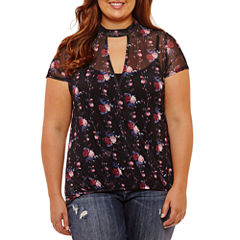 Self Esteem Short Sleeve Keyhole Neck Knit Floral Blouse-Juniors Plus