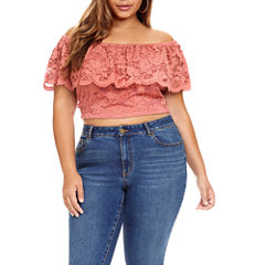 Fashion To Figure Solstice Off Shoulder Lace Crop Top - Plus