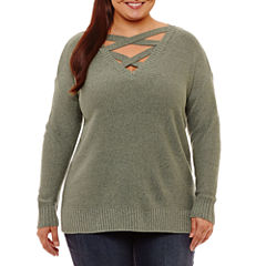 Arizona Criss Cross Neckline Sweater-Juniors Plus