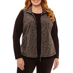 St. John's Bay Active Sleeveless Fleece Vest-Plus