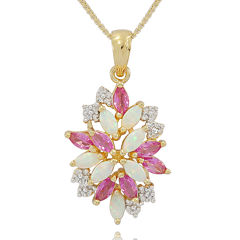 Lab-Created Opal & Pink and White Lab-Created Sapphire Cluster Pendant Necklace