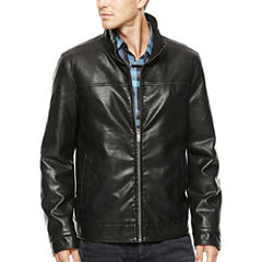 Dockers® Faux-Leather Stand Collar Jacket