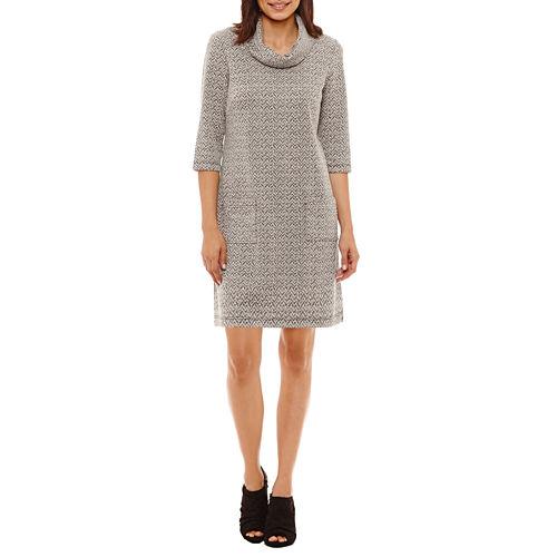 Perceptions 3/4 Sleeve Cowl-Neck Sweater Dress-Petites