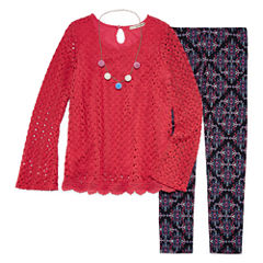 Self Esteem Crochet Bell Sleeve Top and Necklace Legging Set- Girls' 7-16 & Plus