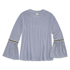 Arizona Bell-Sleeve Gingham and Stripe Fashion Top - Girls' 7-16 and Plus