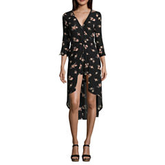 Trixxi 3/4 Sleeve Floral A-Line Dress-Juniors