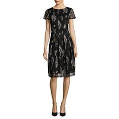 Scarlett Short Sleeve Embroidered Shirt Dress-Talls