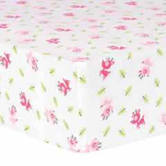 Trend Lab Pink Reindeer Flannel  Crib Sheet