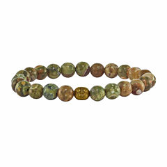 Mens Green Agate Brass Beaded Bracelet