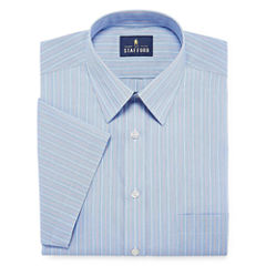 Stafford Travel Easy-Care Broadcloth Short Sleeve Broadcloth Checked Dress Shirt