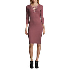 Almost Famous 3/4 Sleeve Bodycon Dress-Juniors
