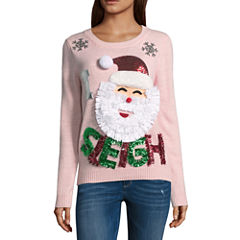 Ugly Christmas Santa Sweater-Juniors
