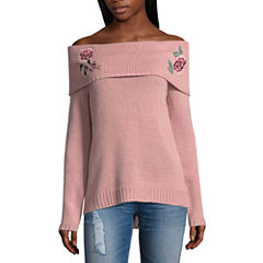 Arizona Embroidered Off Shoulder Sweater-Juniors