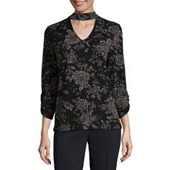 Alyx Long Sleeve V Neck Knit Floral Blouse