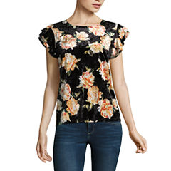 a.n.a Sleeveless Crew Neck Floral T-Shirt-Womens Talls