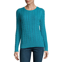 St. John's Bay Cable Crew Sweater- Talls