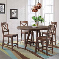 Dining Possibilities 5 Piece Round Counter Height Table With X Back Stools