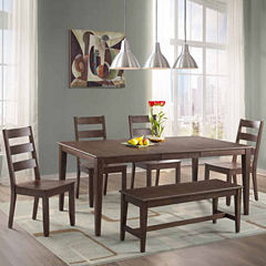 Dining Possibilities 6-Piece Rectangular Table with Ladder Back Chairs and  Bench