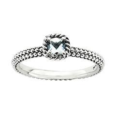 Personally Stackable Checker-Cut Genuine Aquamarine Ring