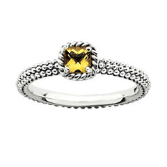 Personally Stackable Checker-Cut Genuine Citrine Ring