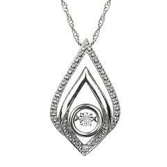 Love in Motion™ Diamond-Accent Sterling Silver Teardrop Pendant Necklace