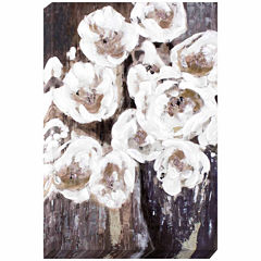 Decor Therapy Grey Floral Bouquet Oil Painted Canvas