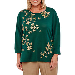 Alfred Dunner Emerald Isle 3/4 Sleeve Metallic Floral T-Shirt-Womens Plus
