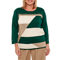 Alfred Dunner Emerald Isle 3/4 Sleeve Patchwork Sweater-Plus