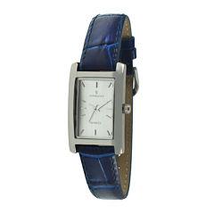 Peugeot® Womens Rectangular Blue Leather Strap Watch 3008BL