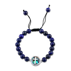 Footnotes Womens Blue Silver Over Brass Beaded Bracelet