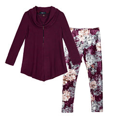 by&by girl Cowl Neck Top with Velour Legging Set - Girls 7-16 & Plus