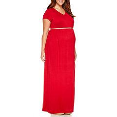 Planet Motherhood Short Sleeve Maxi Dress-Plus Maternity