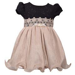 Bonnie Jean Short Sleeve Sparkle Gold Skirt Dress Dress - Baby Girls