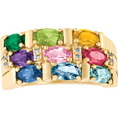Celebrations Of Life Womens Genuine Multi Color Multi Stone 10K Gold Band