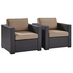 Biscayne Wicker Conversation Chair With Cushions - Set of 2