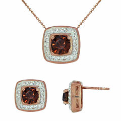14K Rose Gold Over Silver Chocolate Crystal Pendant Necklace & Earring Set